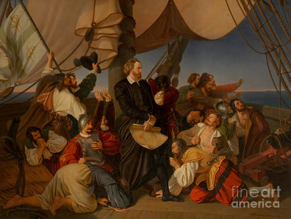 Wall Art - Painting - Columbus Discovers The Shores Of America, 1846 by Christian Ruben