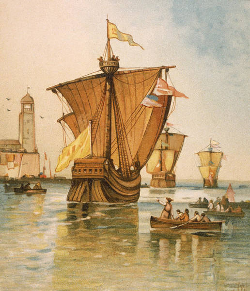 Pencil Drawing Photograph - Columbus Fleet Sets Sail From Spain by Kean Collection