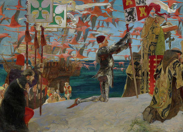 Wall Art - Painting - Columbus In The New World by Edwin Austin Abbey