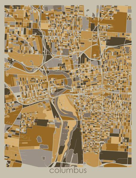 Wall Art - Digital Art - Columbus Map Retro 4 by Bekim M