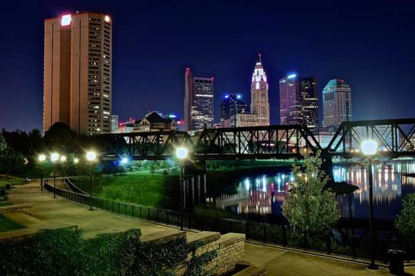Scioto Photograph - Columbus Night On The Scioto Riverfront by Frozen in Time Fine Art Photography
