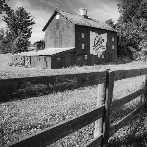 Photograph - Columbus Ohio Bicentennial Barn And Fence - Monochrome 1x1 by Gregory Ballos