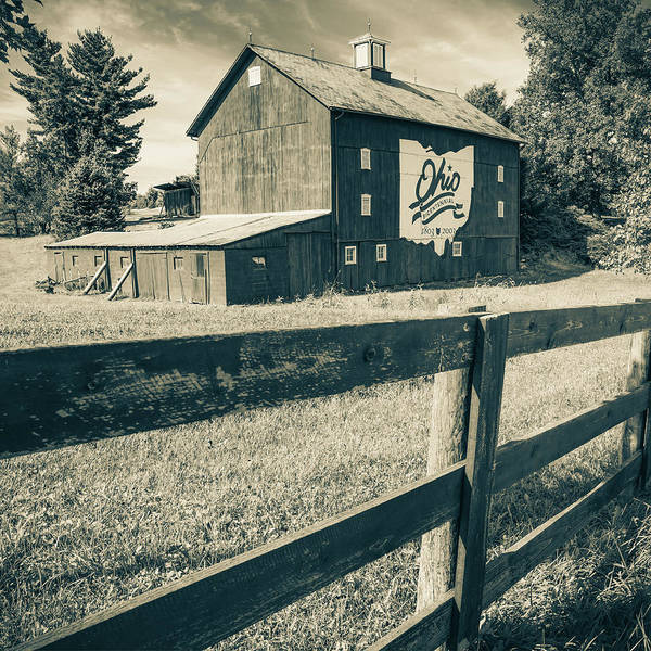 Photograph - Columbus Ohio Bicentennial Barn And Fence - Sepia 1x1 by Gregory Ballos