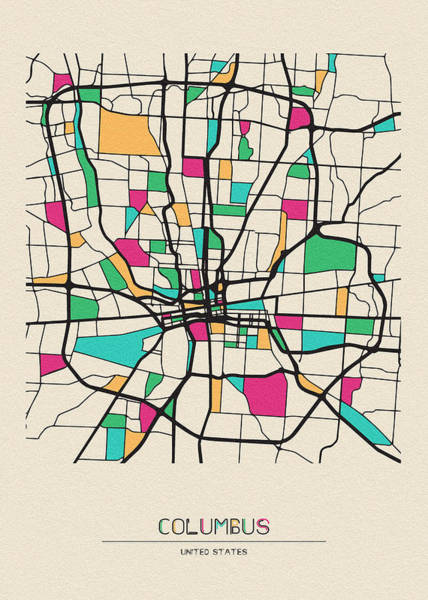 Wall Art - Drawing - Columbus, Ohio City Map by Inspirowl Design