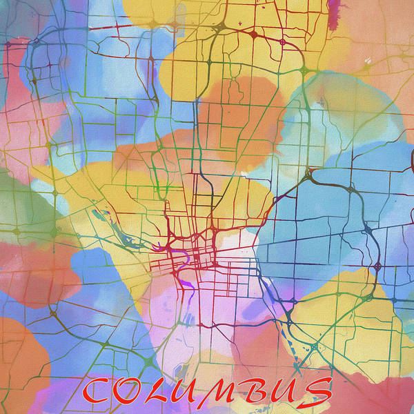 Wall Art - Painting - Columbus Ohio Colorful Street Map by Dan Sproul