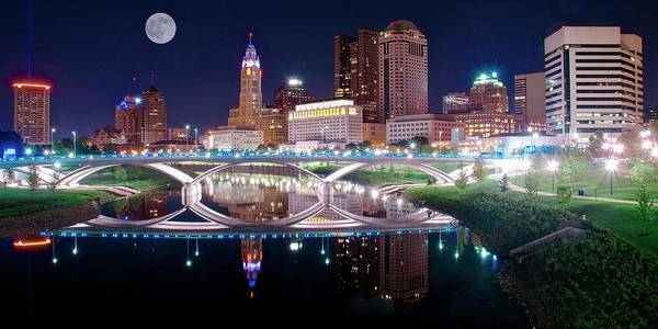 Townscape Photograph - Columbus Ohio Full Moon Pano by Frozen in Time Fine Art Photography