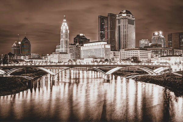 Photograph - Columbus Ohio Skyline Over The Scioto River - Sepia Edition by Gregory Ballos