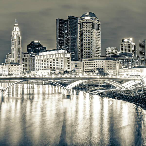Photograph - Columbus Skyline Ohio Sepia - Square Format  by Gregory Ballos