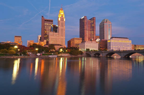 Scioto Photograph - Columbus Waterfront Skyline At Dusk by Davel5957