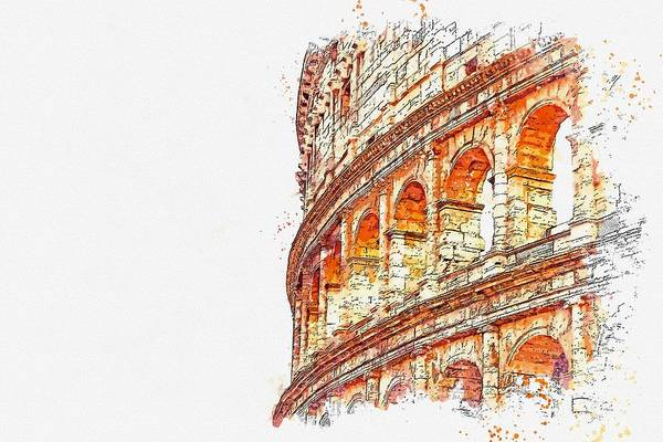 Painting - Colussium, Italy 2 Watercolor By Ahmet Asar by Celestial Images