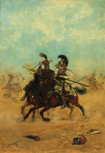 Irregular Painting - Combat For The Colors, 1874 by Edouard Detaille