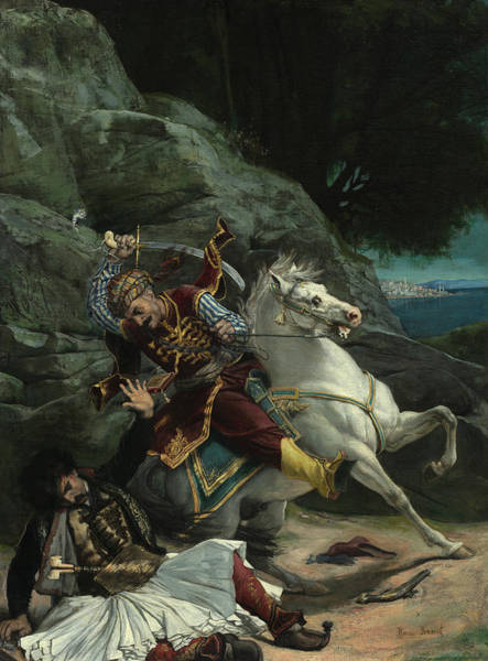 Wall Art - Painting - Combat Of A Greek And A Turk, 1835 by Horace Vernet