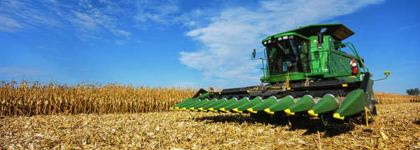 Wall Art - Photograph - Combine Harvesting A Cornfield by Panoramic Images
