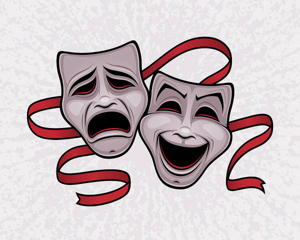 Sad Digital Art - Comedy And Tragedy Theater Masks by John Schwegel