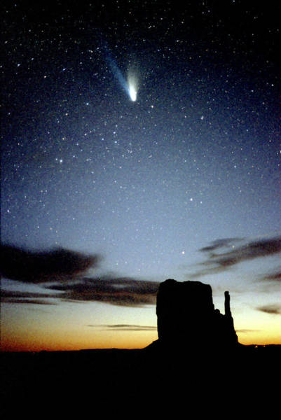 The Mitten Photograph - Comet Hale-bopp Over Monument Valley by Kickstand