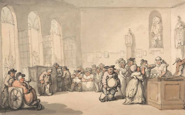 Pump Drawing - Comforts Of Bath - The Pump Room by Thomas Rowlandson