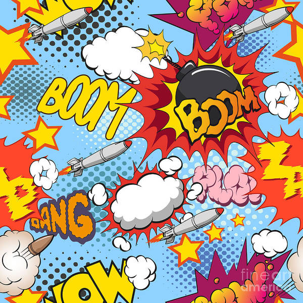 Wall Art - Digital Art - Comic Book Explosion Pattern, Vector by Romanya