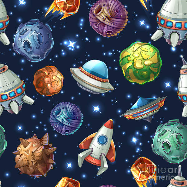 Spacecraft Wall Art - Digital Art - Comic Space With Planets And by Mssa