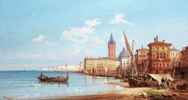Wall Art - Painting - Coming Ashore, Venice by Charles Euphrasie Kuwasseg