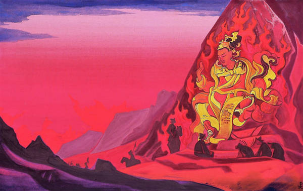 Valley Of Fire Painting - Command Of Rigden Djapo - Digital Remastered Edition by Nicholas Roerich