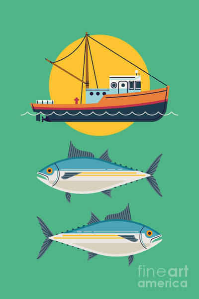 Naval Wall Art - Digital Art - Commercial Fishery Concept Layout. Tuna by Mascha Tace