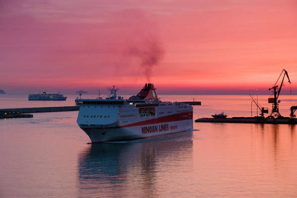 Wall Art - Photograph - Commercial Harbor W Greek Island Ferry by Walter Bibikow