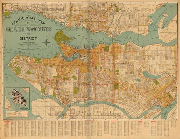 Wall Art - Painting - Commercial Map Of Greater Vancouver And District 1929 by Celestial Images