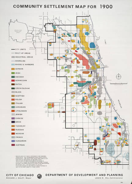 Chicago Photograph - Community Settlement Map, Chicago by Chicago History Museum