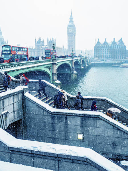 The Clock Tower Photograph - Commuters Using Westminster Bridge In by Doug Armand