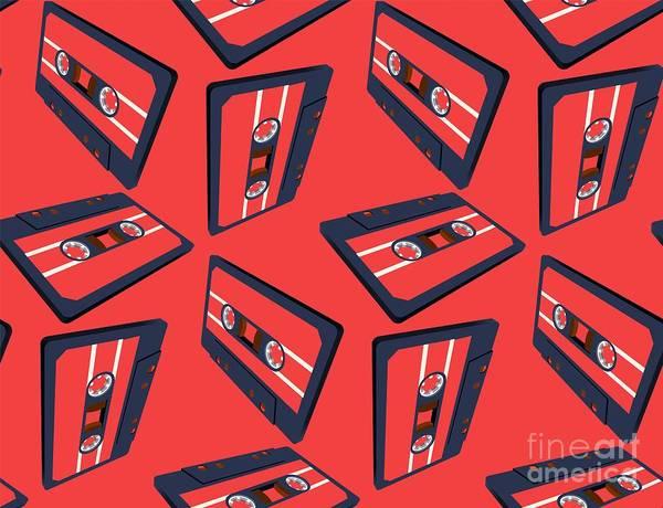 Wall Art - Digital Art - Compact Cassette Seamless Pattern With by Swillklitch