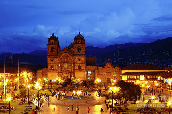 Photograph - Compania De Jesus Church And Central Square At Twilight Cusco Peru by James Brunker