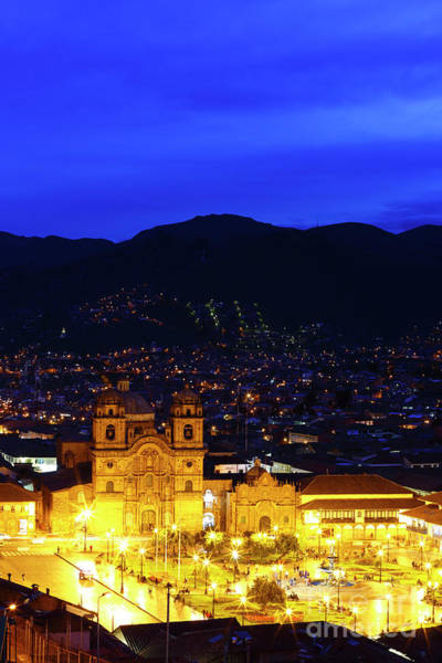 Photograph - Compania De Jesus Church And Plaza De Armas At Blue Hour Cuzco Peru by James Brunker