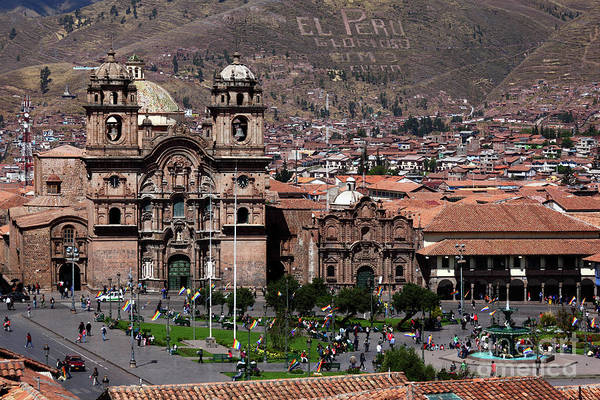 Photograph - Compania De Jesus Church And Plaza De Armas Cusco Peru by James Brunker