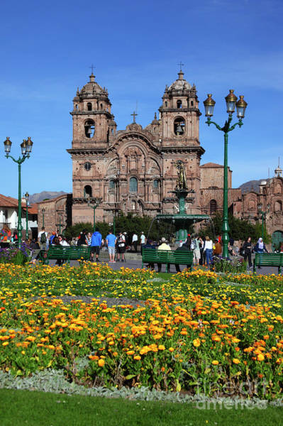 Photograph - Compania De Jesus Church And Plaza De Armas Cuzco Peru by James Brunker