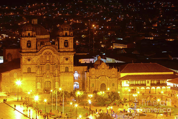 Photograph - Compania De Jesus Church At Night Cusco Peru by James Brunker