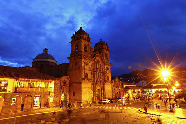 Photograph - Compania De Jesus Church At Twilight Cusco Peru by James Brunker