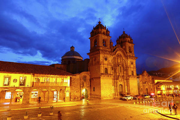 Photograph - Compania De Jesus Church At Twilight Cuzco Peru by James Brunker