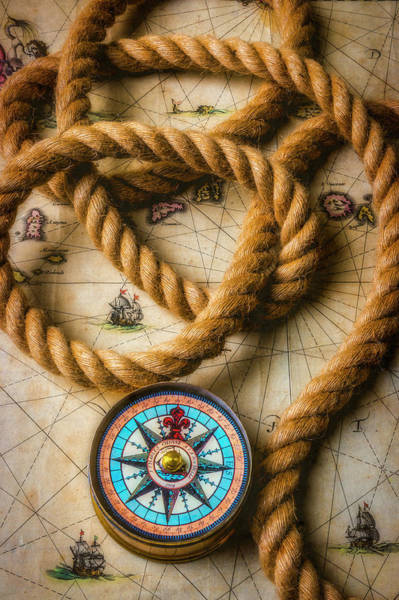 Wall Art - Photograph - Compass And Rope On Old Map by Garry Gay