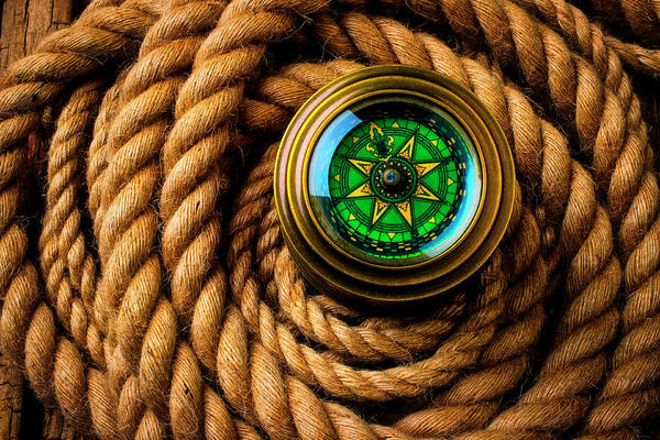 Wall Art - Photograph - Compass In A Coil Of Rope by Garry Gay