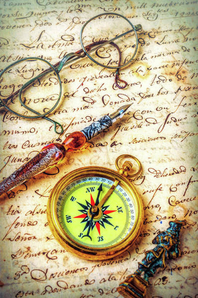 Wall Art - Photograph - Compass On Old Letter Still Life by Garry Gay