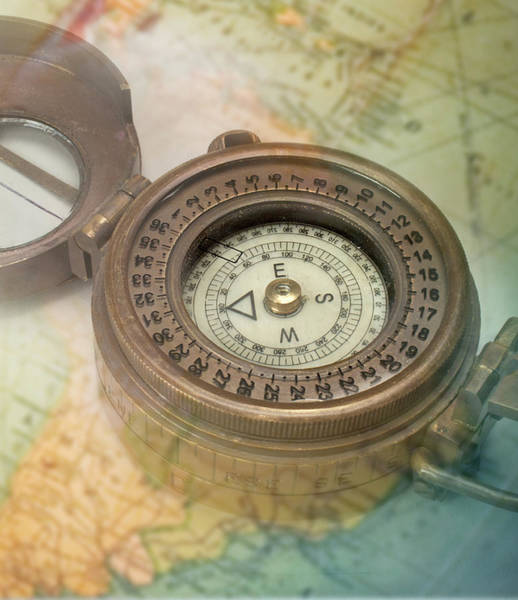 Usa Map Photograph - Compass With Transparent Map by Atu Images