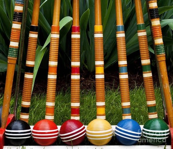 Wall Art - Photograph - Complete Set Of Croquet Mallets And by Robert Hale