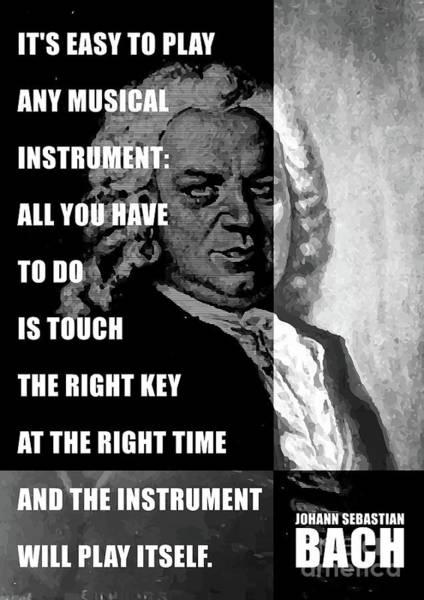 Variation Mixed Media - Composer Johann Sebastian Bach Historic Portrait Illustration Quote by GetArtFactory