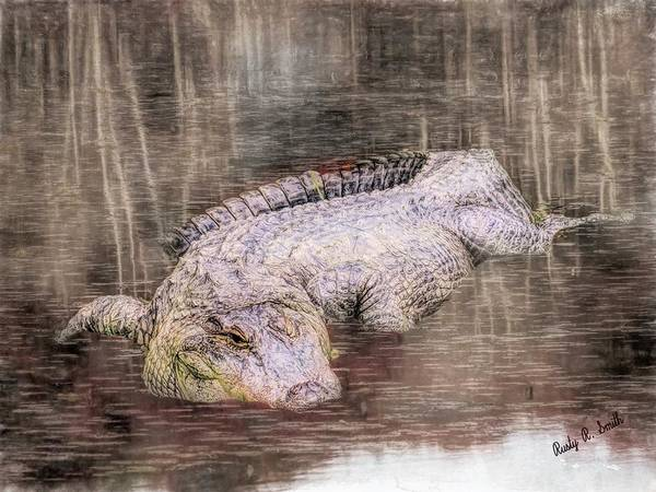 Digital Art - Composite Art Photograph Of An Alligator In A Shallow Bog. by Rusty R Smith