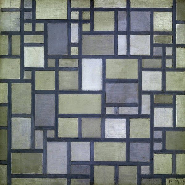 Wall Art - Painting - Composition, Bright Color Planes With Gray Lines, Composition With Grid 7, 1919 by Piet Mondrian