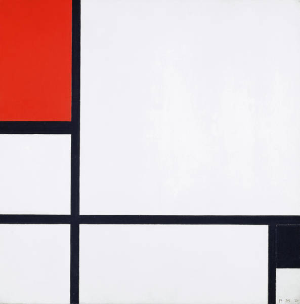 Wall Art - Painting - Composition No. I, With Red And Black, 1929 by Piet Mondrian