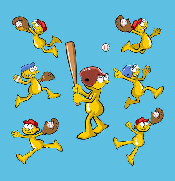 Sportsman Digital Art - Composition Of Baseball Images In Cartoon Style by Daniel Ghioldi