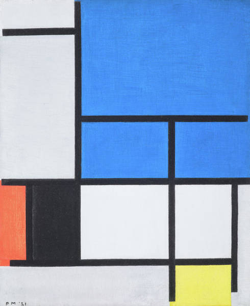 Wall Art - Painting - Composition With Large Blue Plane, Red, Black, Yellow, And Gray by Piet Mondrian