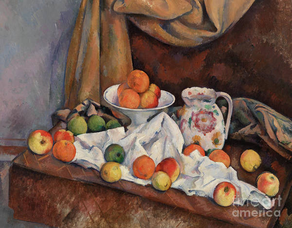 Wall Art - Painting - Compotier, Pitcher And Fruit by Paul Cezanne