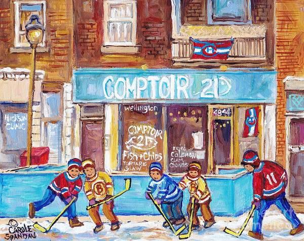 Painting - Comptoir 21 Fish And Chips Bistro Montreal Verdun Painting C Spandau Hockey Street Scene Artist by Carole Spandau
